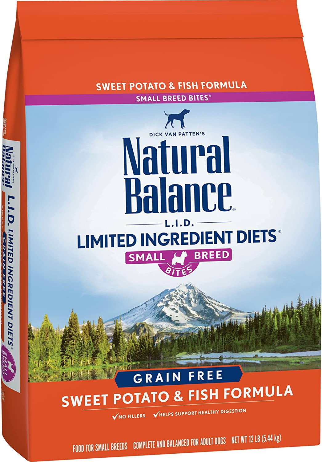 Natural Balance Small Breed Bites L.I.D. Limited Ingredient Diets Dry Dog Food, Grain Free, Sweet Potato & Fish Formula, 12Pound