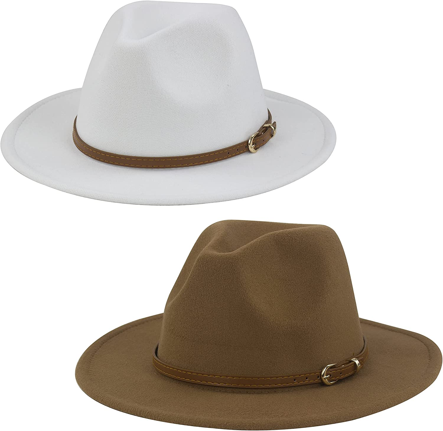 Muryobao 2 Beauty products Pieces Womens Our shop most popular Classic Wide Brim Hat Panama Buckl Belt