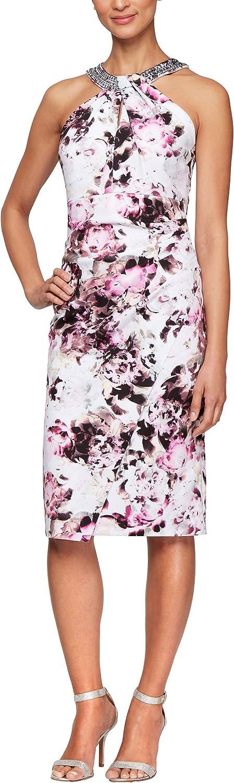 Alex Evenings Women's Short Crepe Halter Neck Dress