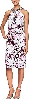 Alex Evenings Womens Short V Neck Crepe Sheath Cocktail Dress Sleeveless Cocktail Dress