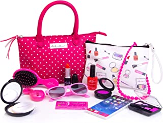 PixieCrush Deluxe Pretend Play Kid Purse Set for Girls with Handbag, Pretend Smart Phone, Keys, Pretend Makeup, Lipstick – Interactive & Educational Toy (Pink Polka Dot)