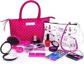 PixieCrush Deluxe Pretend Play Kid Purse Set for Girls with Handbag, Pretend Smart Phone, Keys, Pretend Makeup, Lipstick – Interactive & Educational Toy (Pink Polka Dot)