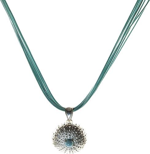 Silberhalskette - Seeigel mit Türkis