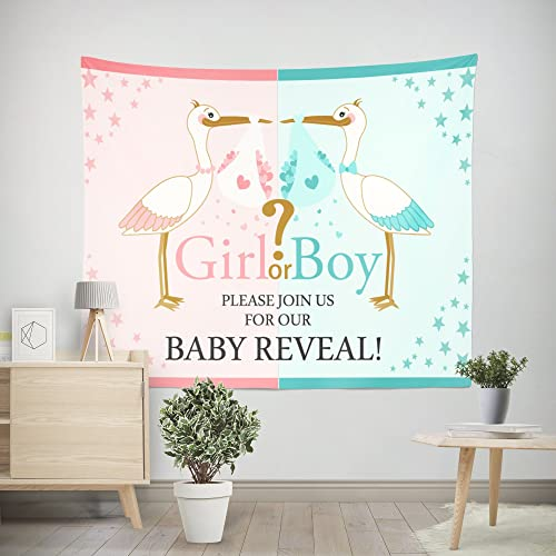 DPIST Gender Reveal Party Decorations Supplies Photo Booth Backdrop for Pictures Baby Shower Birthday Party Decorations Studio Props Tapestry