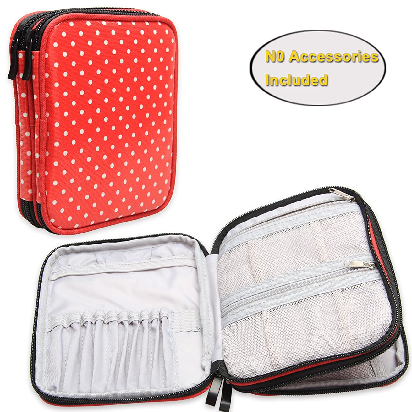 Teamoy Crochet Hook Case, Travel Storage Bag for Various Crochet Needles and Accessories, Lightweight and All in One Place, Easy to Carry, Red Dots(No Accessories Included)