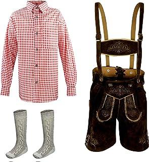 Kiddy Tracht Kinder Lederhose 3erSET Kurze Trachtenlederhose Trachten Hemd Jungen Mädchen Gr.104,116,128,140,152,164