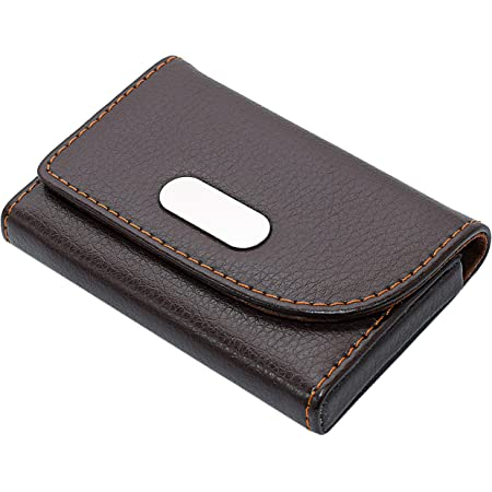 Storite PU Leather Pocket Sized Business Credit Card Holder Name Card Case Wallet with Magnetic Shut for Men & Women - (Dark Brown,6.5 x 1.5 x 9.5cm)