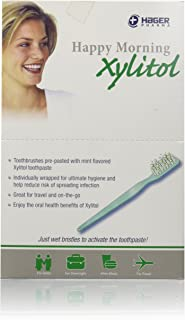 Hager Pharma Happy Morning Toothbrush with Xylitol, 50 Count