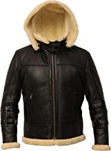 B3 Black Bomber Real Shearling Leather Jacket Removable Hood