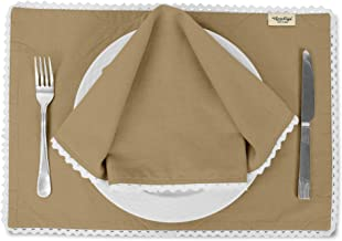 Vargottam Beige Solid Home Décor Everyday Washable Lace Placemats with Napkins Dining Table Decor-Pack of 8
