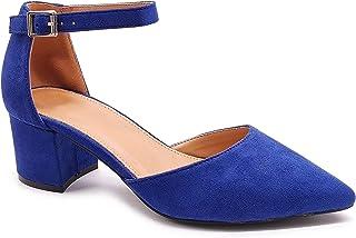 Angkorly - Chaussure Mode Escarpin Sandale Décolleté BCBG élégant Femme lanière Boucle Cuir Lisse Talon Haut Bloc 7 CM