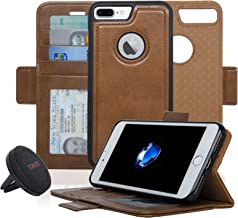 Navor Detachable Magnetic Wallet Case and Universal Car Mount Compatible for iPhone 7 Plus [RFID Protection] [Vajio Series] -Brown