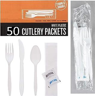 50 بسته کارد و چنگال پلاستیکی - چاقوی چاقو قاشق چای خوری نمک دستمال فلفل | ظروف نقره ای پلاستیکی سفید بسته های کارد و چنگال بسته بندی شده جداگانه ، مجموعه کارد و چنگال پلاستیکی پلاستیکی یکبار مصرف برای استفاده از ظروف نقره ای