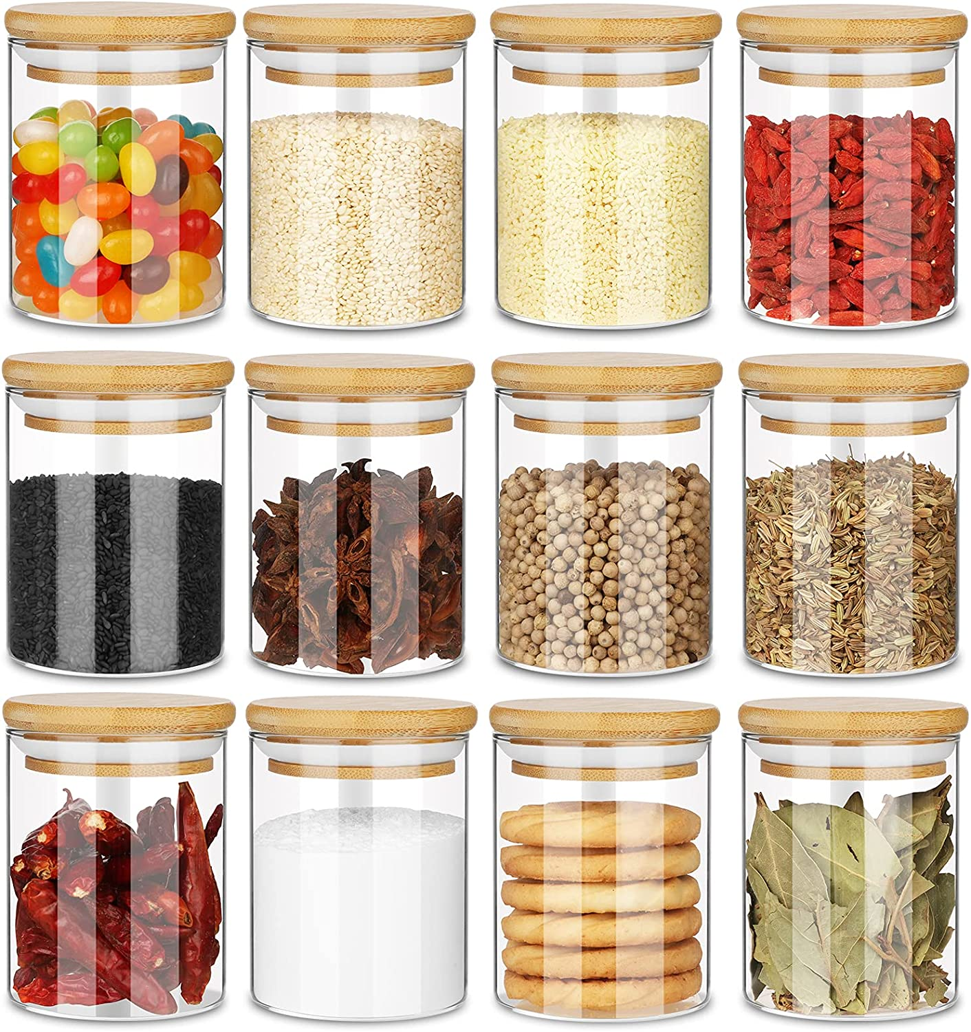 Gogenic Glass Jars Set Upgrade Max 90% Recommendation OFF Wood Lid Airtight with Spice