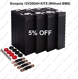 LiFePO4 12V 200Ah Lithium Iron Phosphate Battery Pack, Light Weight LiFePO4 Battery for RV, Solar, Marine, and Off-Grid Applications