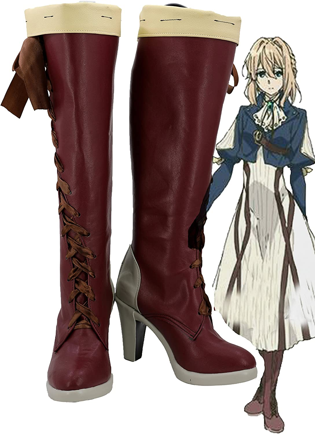 Violet Evergarden shipfree Cosplay Shoes Boots Red Custom Sale SALE% OFF Made 2