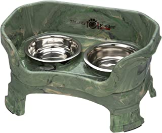 elevated dog feeder with ceramic bowls