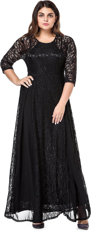 ESPRLIA Women's Plus Size Floral Lace 3/4 Sleeve Wedding Maxi Dress