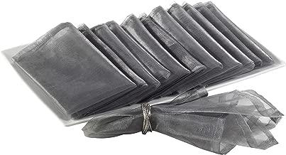 SARO LIFESTYLE 1002 Sorbet Collection Silver Polyester Organza Dinner Napkin - Soldper 12