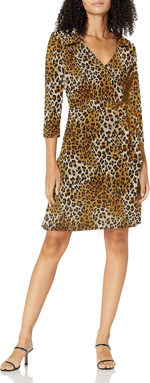 Star Vixen Women's Petite 3/4 Sleeve Faux Wrap Dress with Collar