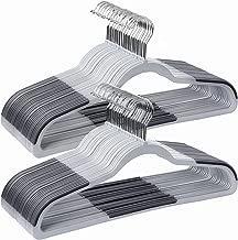 SONGMICS Hangers, 50 Pack High Qaulity Plastic Coat Hangers, Non Slip Durable, 0.2 Inch Thickness Space Saving, 360° Swivel Hooks, Gray UCRF50G