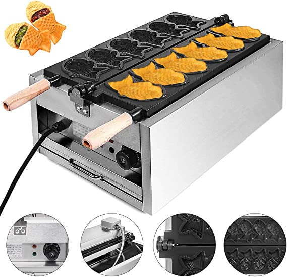 VEVOR Commercial Taiyaki 6Pcs Electric Nonstick Waffle Machine 3000W for Restaurant Home Use