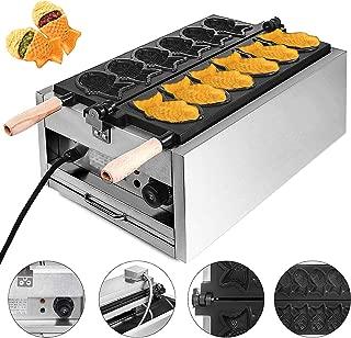 VEVOR Commercial Taiyaki 6Pcs Electric Nonstick Waffle Machine 3000W for Restaurant Home Use, 6xTaiyaki Maker