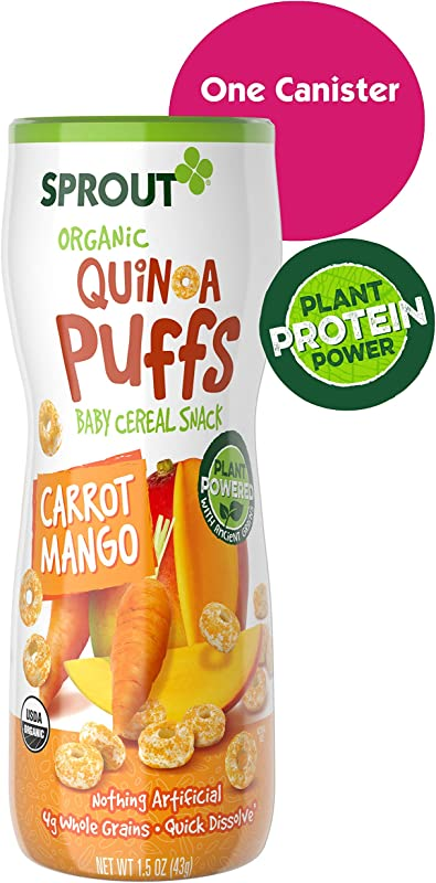 Sprout Organic Quinoa Puffs Baby Snacks Carrot Mango 1 5 Ounce Canister Single