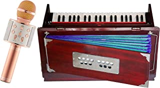 Makan Musicals Bass Reed & Male Reed Folding, Safri, 3 1/2 Octaves, 9 Stops, Rosewood Color, Coupler, Double Reed Professional Indian Musical Instrument Hand Pumped Harmonium
