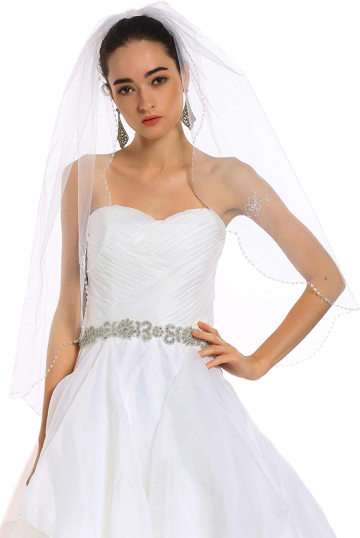 Passat 1 Tier Ivory Beaded Veil Fingertip Pearl Wedding Veils For Bride Crystal Veils Ivory H33