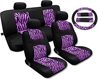 Unique Imports Pink Zebra Accent Fur Black Mesh Cool Breeze Animal Print Seat Cover Set for Toyota Corolla