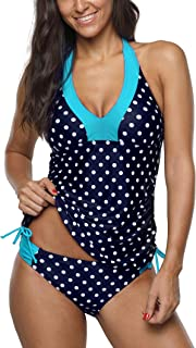 Women Tankini Two Piece Swimsuits Bathing Suit Halter Side Ruched