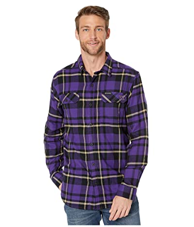 Columbia College Washington Huskies Collegiate Flare Guntm Flannel Long Sleeve Shirt (Purple Plaid) Men