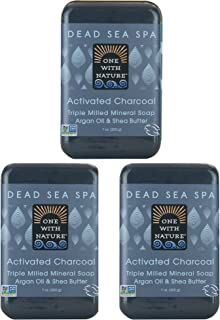 DEAD SEA Salt CHARCOAL SOAP 3 pk – Activated Charcoal, Shea Butter, Argan Oil. For Problem Skin, Skin Detox, Acne Treatmen...
