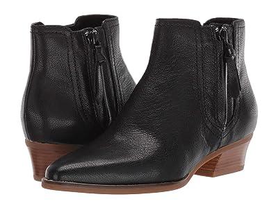 Cole Haan Hadlyn Bootie (Black Leather/Antique Nylon Zip/Dark Natural Raw Stack) Women
