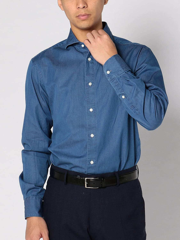 [シップス] シャツ 長袖 インディゴ ソリッドシャンブレー ホリゾンタルカラー メンズ 111135448