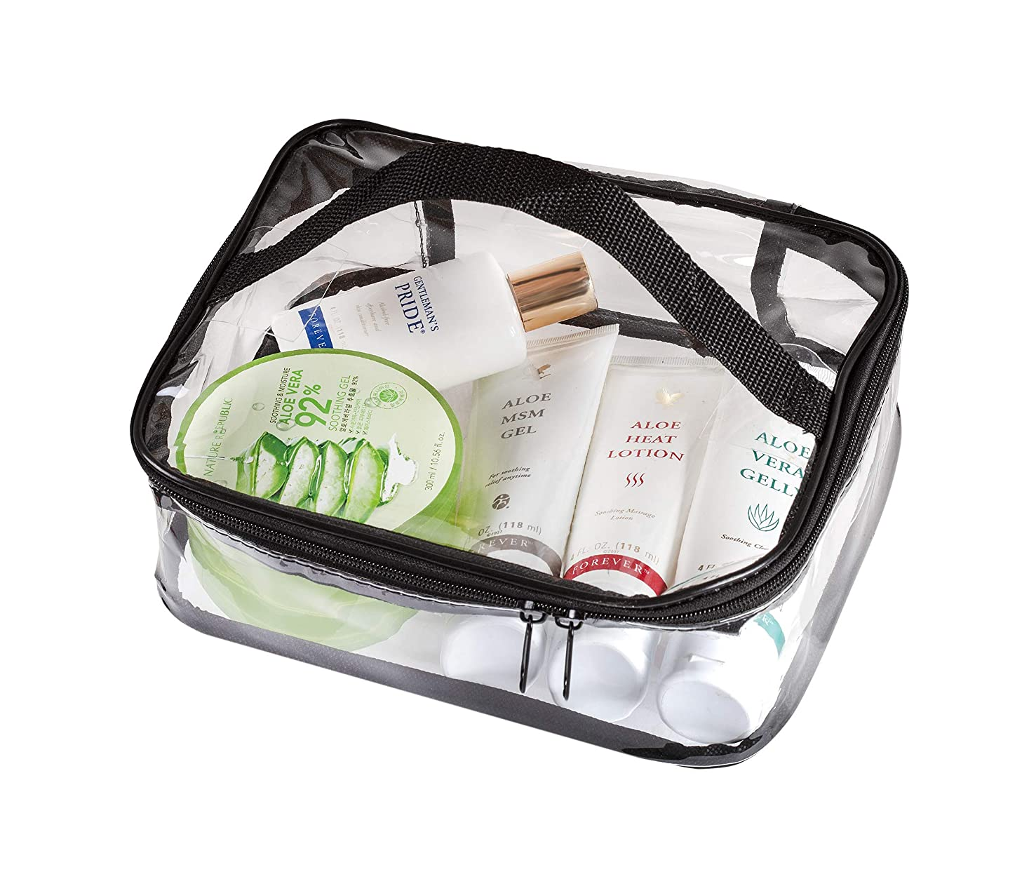 Clear Travel Cosmetic Bag Makeup Pouch, Train Case Organizer with Top Handle (Large)