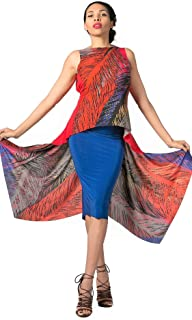 b8da6068240fc red and blue backless Argentine tango top. Signature BUTTERFLY low back  sleeveless tunic. Elegant
