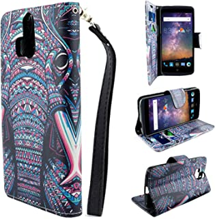ZTE Axon Pro, Customerfirst - Flip PU Leather Fold Wallet Pouch Credit Card Case for Axon Pro A1P - Includes Key Chain (Indian Elephant)