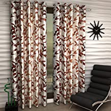 Radees Creations Eyelet Polyester Long Door Curtains,9 ft (Set of 2) Brown (Design-3, Long Door - 9 FeeT)
