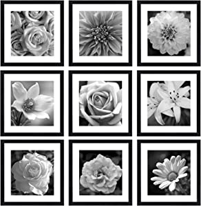 eletecpro 12x12 Picture Frames Black Set of 9, Wooden Square Photo Frame Displays 8x8 With Mat and 12x12 Without Mat, Poster Frame for Wall Hanging Home Decoration - Mounting Hardware Included