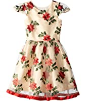 Poinsettia Holiday Party Dress (Big Kids)
