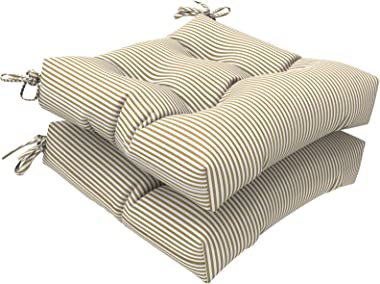 LVTXIII Outdoor Seat Cushion with Ties, Fade-Resistant Wicker Seat Cushions, All Weather Tufted Chair Pads for Patio Furnitur