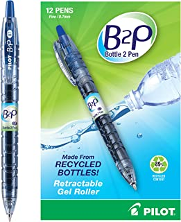 Pilot Bottle-2-Pen (B2P) - Retractable Premium Gel Roller Pens Made from Recycled Bottles (12 Count Box) Fine Point, Blue G2 Gel Ink, Refillable, Comfortable Grip (31601)
