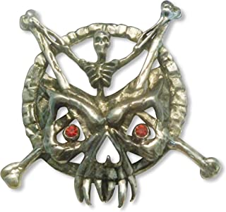 Gothic Skeleton with Crossbones Riding Demon Mask Jacket or Hat Pin Pewter