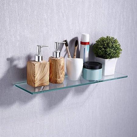Umi. por Amazon Estanterías para baño Estante de vidrio para ducha Bandeja de baño de vidrio templado Cesta de ducha Organizador de baño en la Pared ...