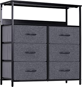 LYNCOHOME 6 Drawers Dresser with Shelves - Storage Cabinet for Bedroom, Closet, Office Organization, Storage Tower Organizer with Sturdy Steel Frame, Wood Top, Removable Fabric Drawers(Gray)
