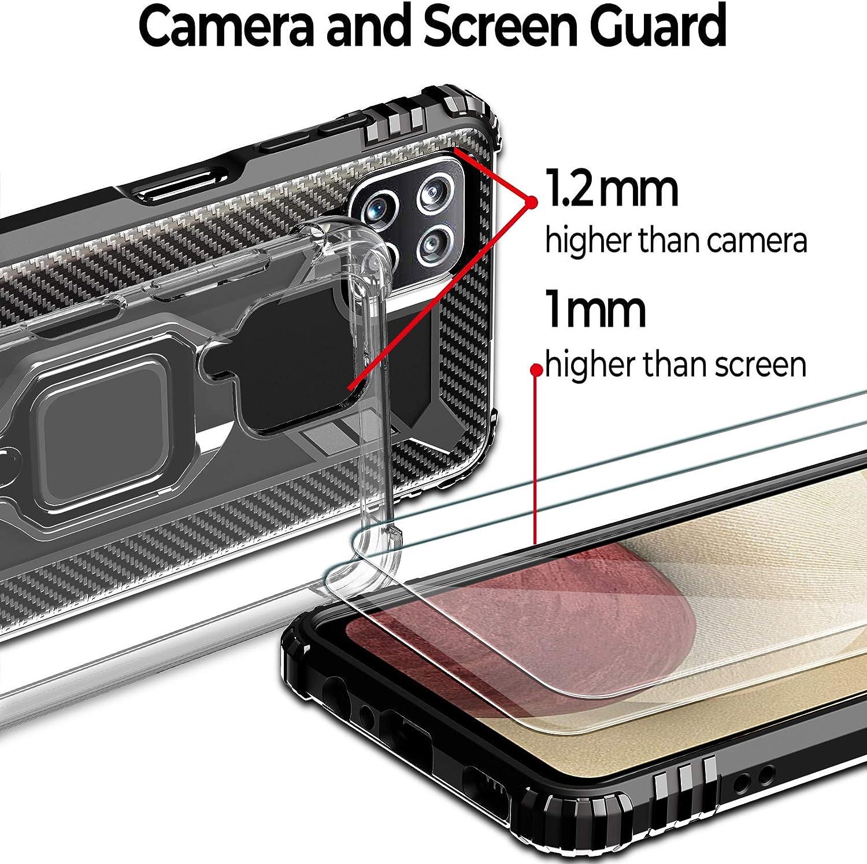 2 Coque +2 pi/èces Verre Tremp/é Protection /écran pour Samsung Galaxy A12, Military Grade Anti-Chute 4 unit/és Milomdoi 360/°degr/és B/équille /à Bague de Rotation 2 Styles Case TPU Silicone-Noir