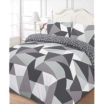 Dreamscene Polycotton Duvet Cover with Pillow Case Bedding Single - Shapes Black