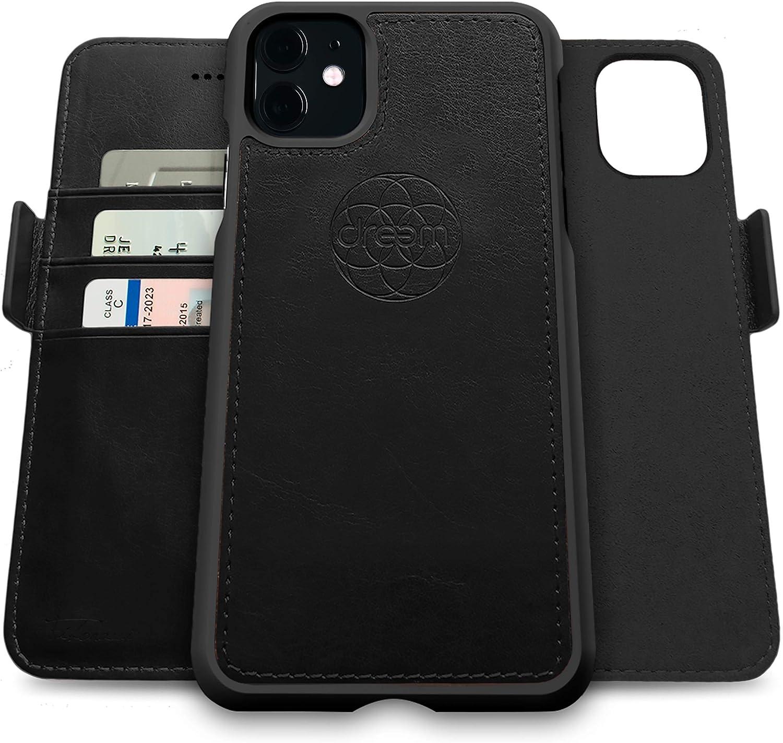 Dreem Fibonacci 2-in-1 Wallet-Case for Apple iPhone 11 - Luxury Vegan Leather, Magnetic Detachable Shockproof Phone Case, RFID Card Protection, 2-Way Flip Stand - Black